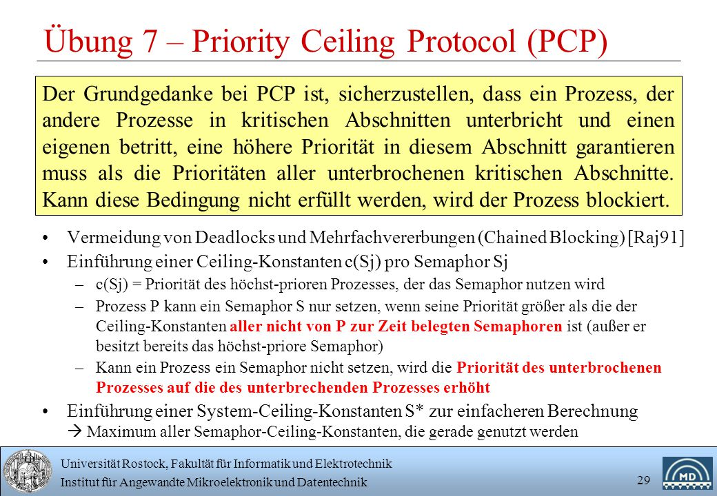 Übung 7 – Priority Ceiling Protocol (PCP)