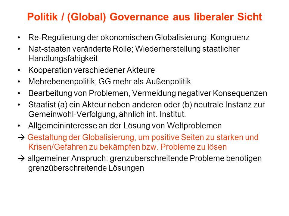 Politik / (Global) Governance aus liberaler Sicht