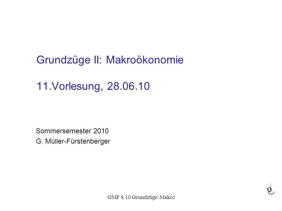Grundzüge II: Makroökonomie 11.Vorlesung, 28.06.10