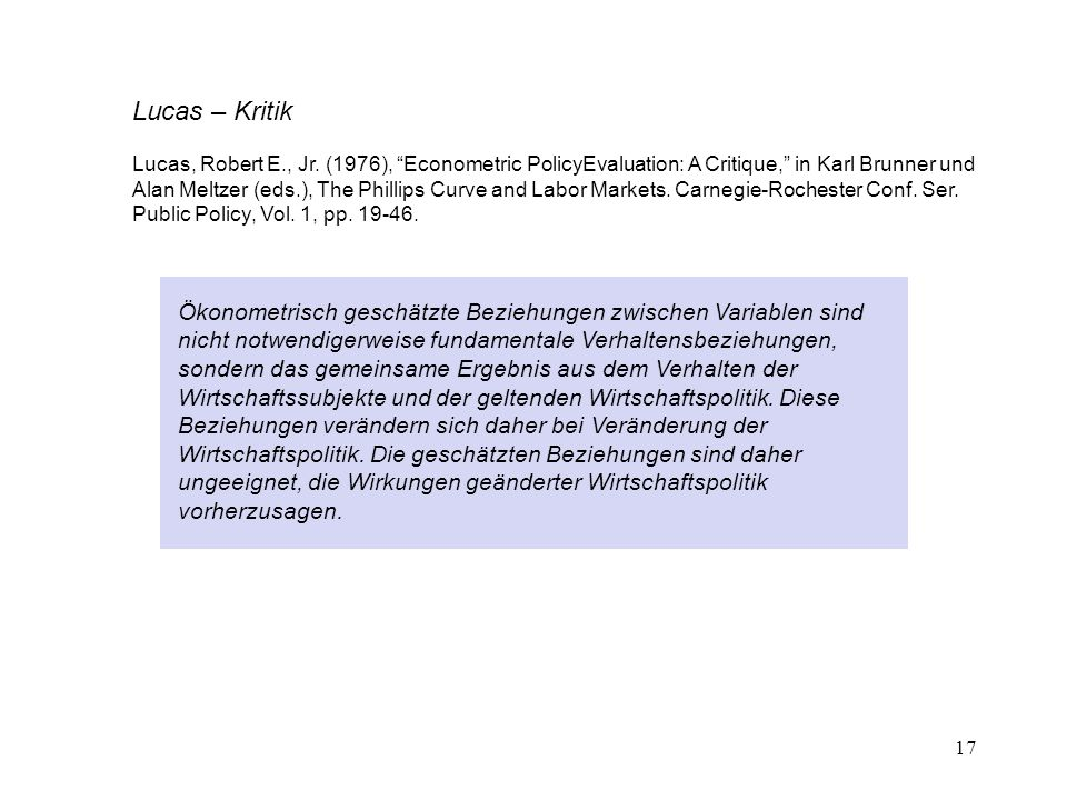 Lucas – Kritik Lucas, Robert E., Jr. (1976), Econometric PolicyEvaluation: A Critique, in Karl Brunner und.