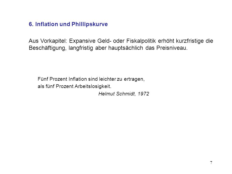 6. Inflation und Phillipskurve