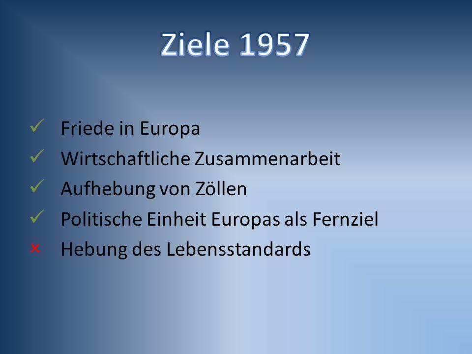 Ziele 1957 Friede in Europa Wirtschaftliche Zusammenarbeit
