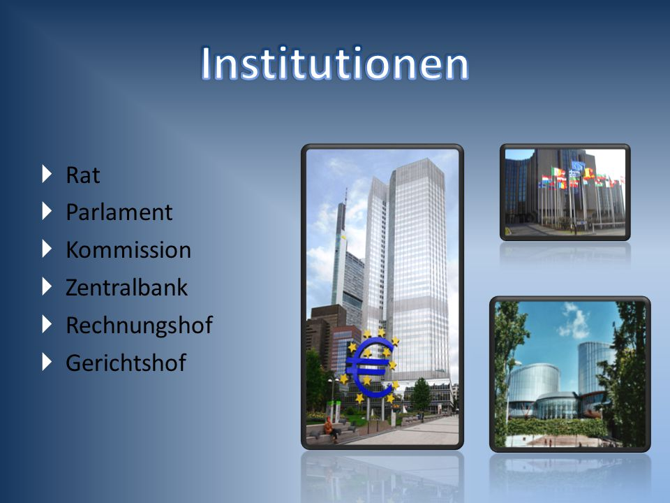 Institutionen Rat Parlament Kommission Zentralbank Rechnungshof