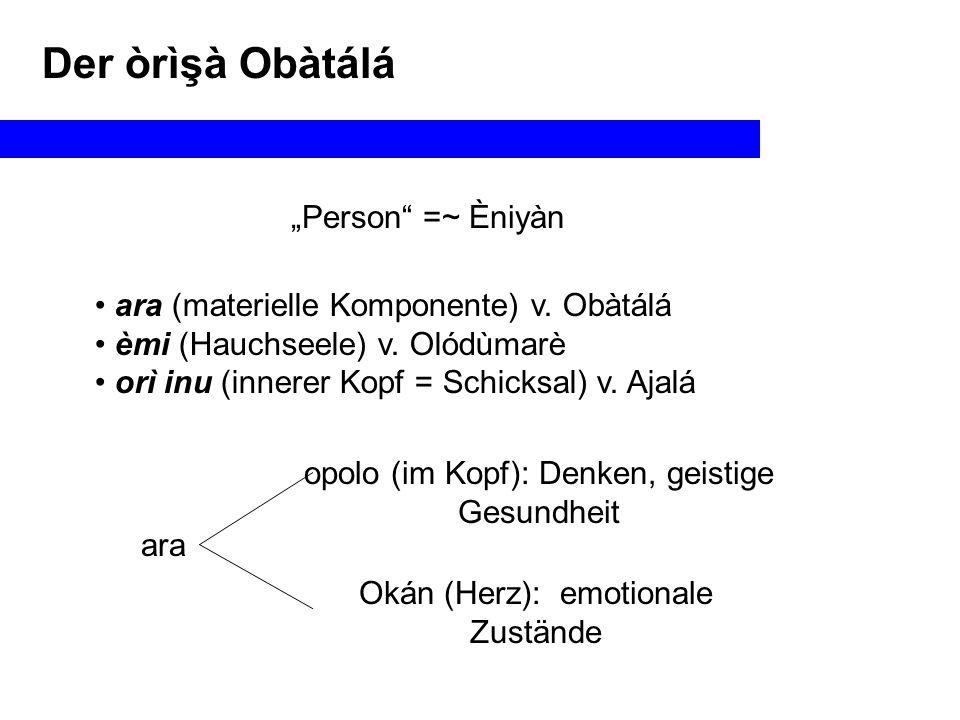 """Der òrìşà Obàtálá """"Person =~ Èniyàn"""