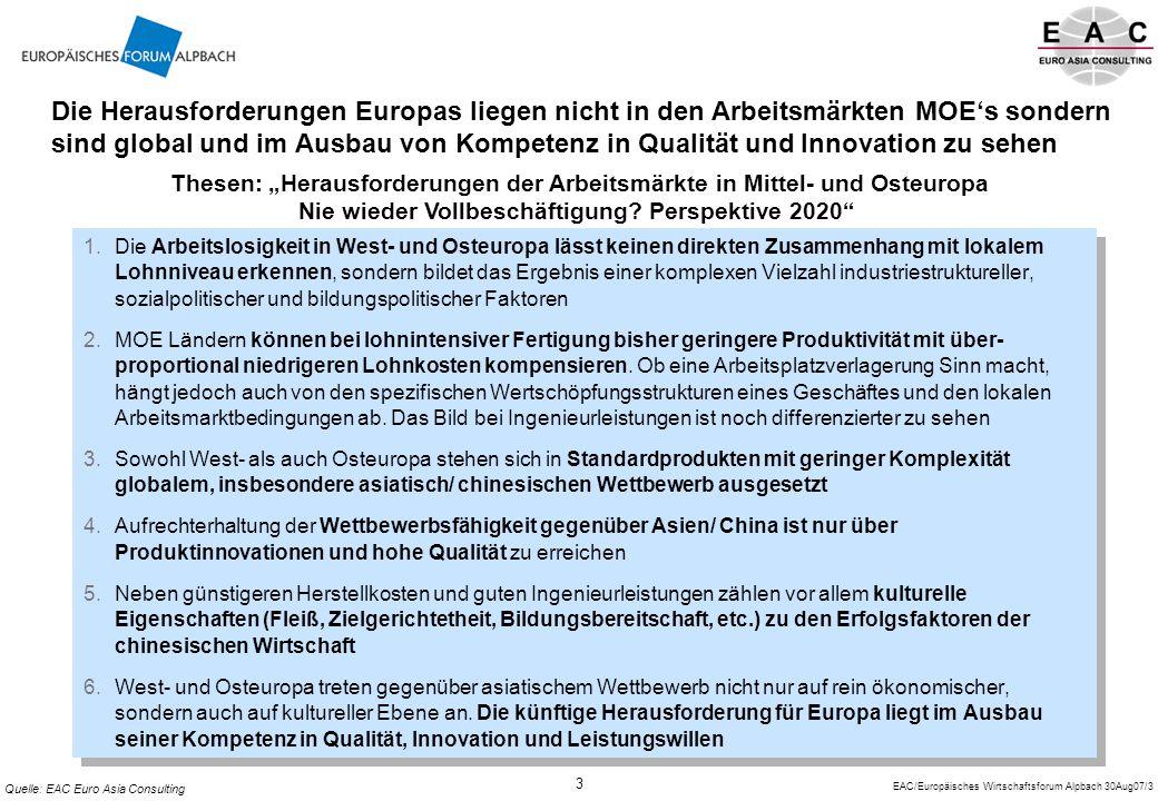 Die Herausforderungen Europas liegen nicht in den Arbeitsmärkten MOE's sondern sind global und im Ausbau von Kompetenz in Qualität und Innovation zu sehen