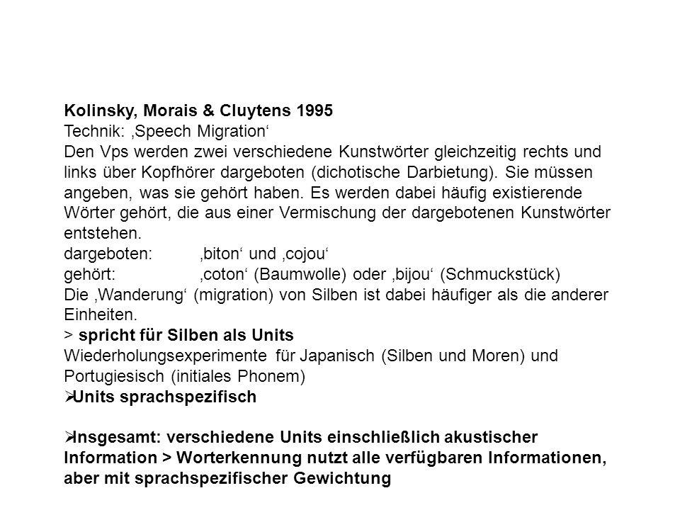 Kolinsky, Morais & Cluytens 1995