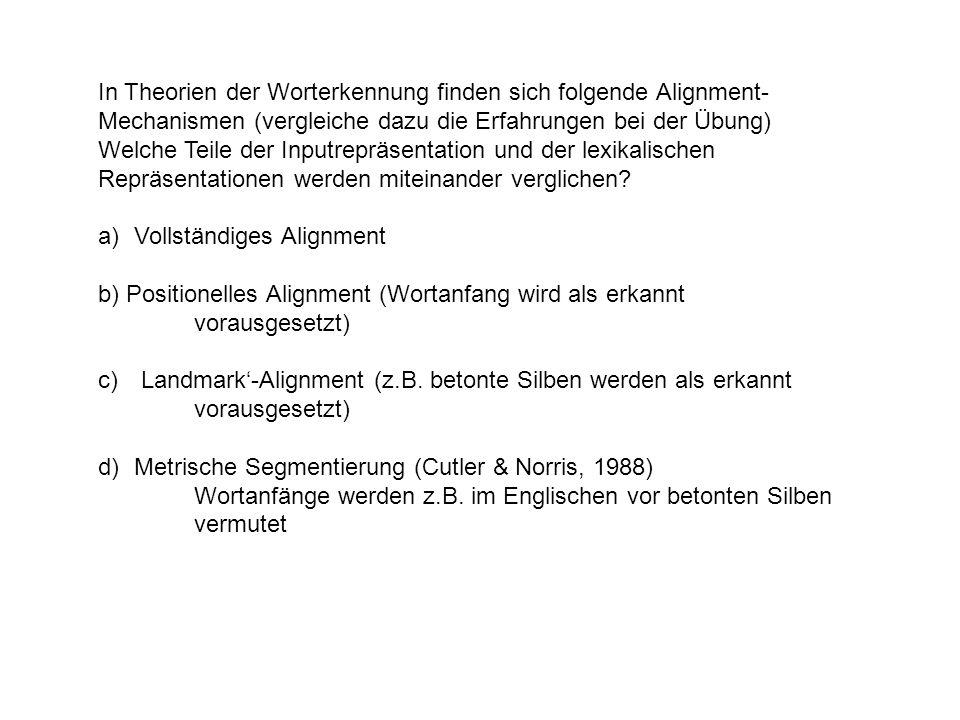 In Theorien der Worterkennung finden sich folgende Alignment-Mechanismen (vergleiche dazu die Erfahrungen bei der Übung)