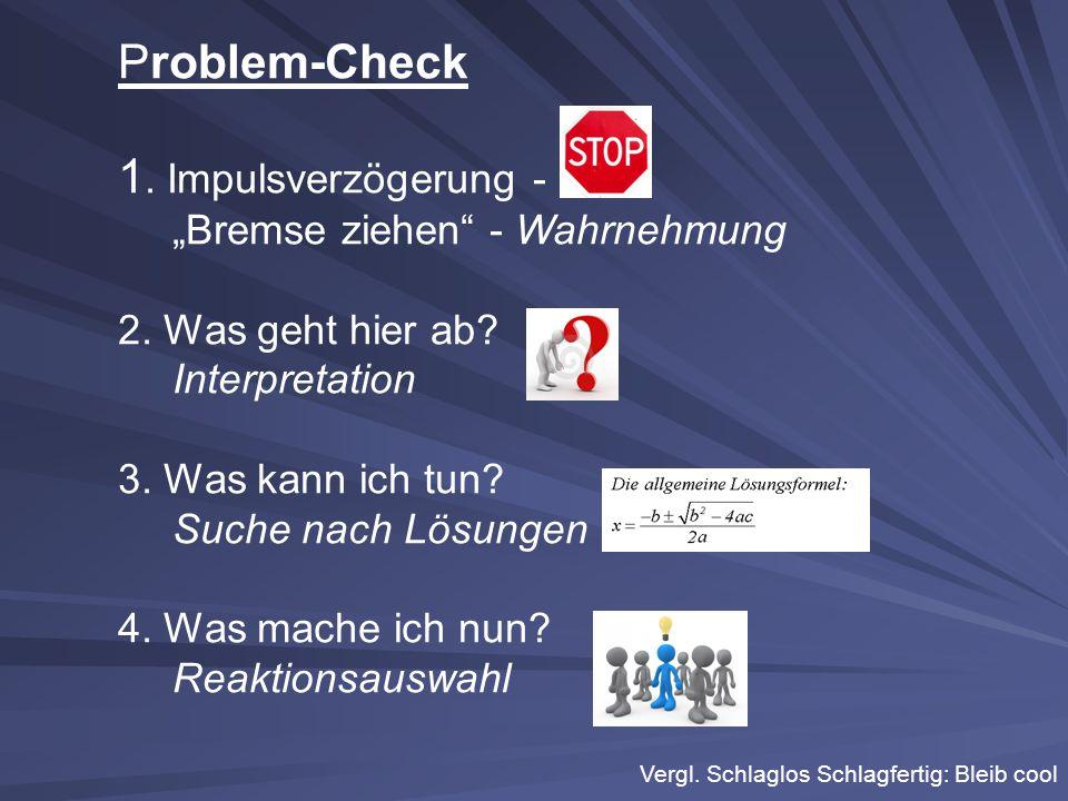 """Problem-Check 1. Impulsverzögerung - """"Bremse ziehen - Wahrnehmung"""