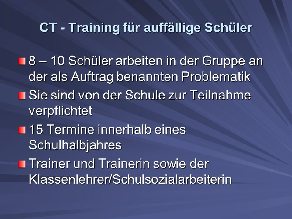 CT - Training für auffällige Schüler