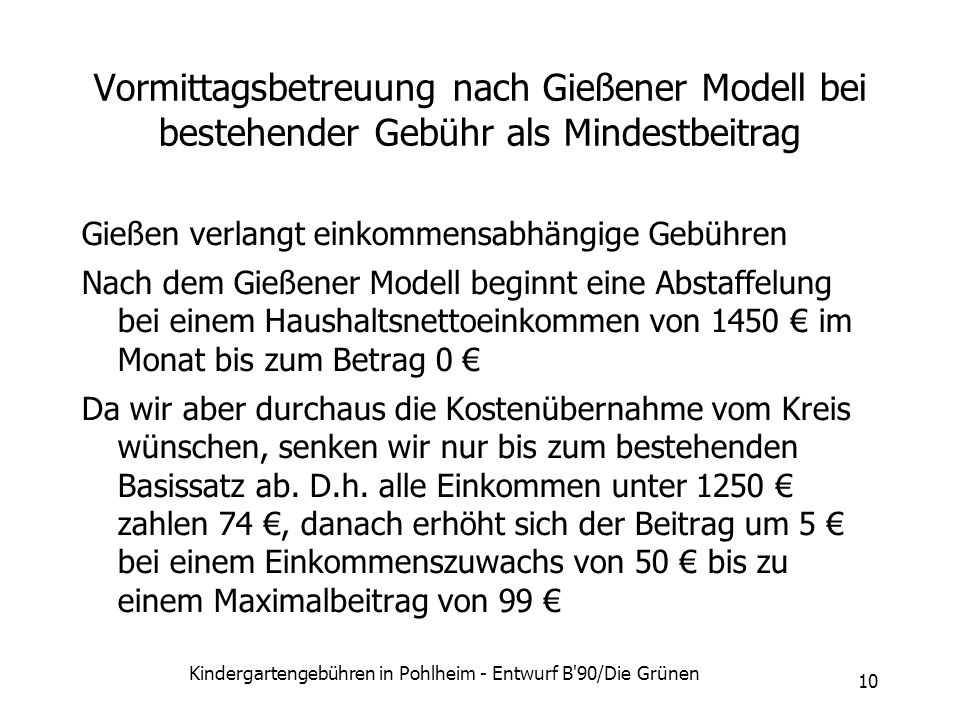 Kindergartengebühren in Pohlheim - Entwurf B 90/Die Grünen