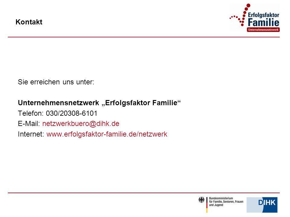 """Sie erreichen uns unter: Unternehmensnetzwerk """"Erfolgsfaktor Familie"""