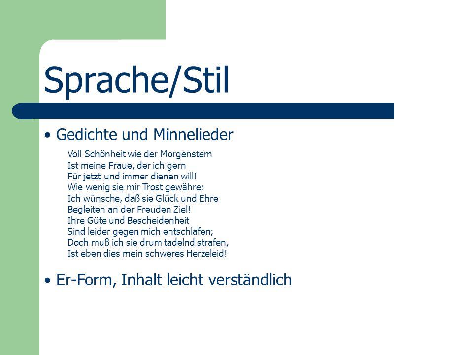 Sprache/Stil Gedichte und Minnelieder