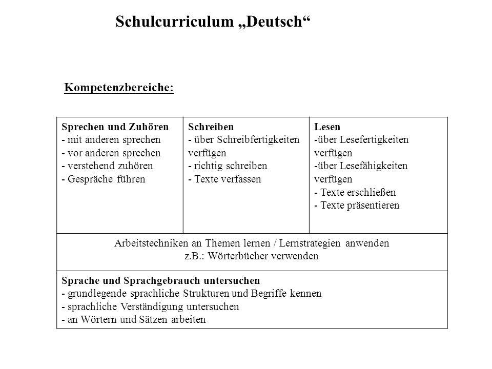 """Schulcurriculum """"Deutsch"""