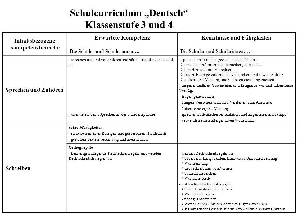 """Schulcurriculum """"Deutsch Klassenstufe 3 und 4"""