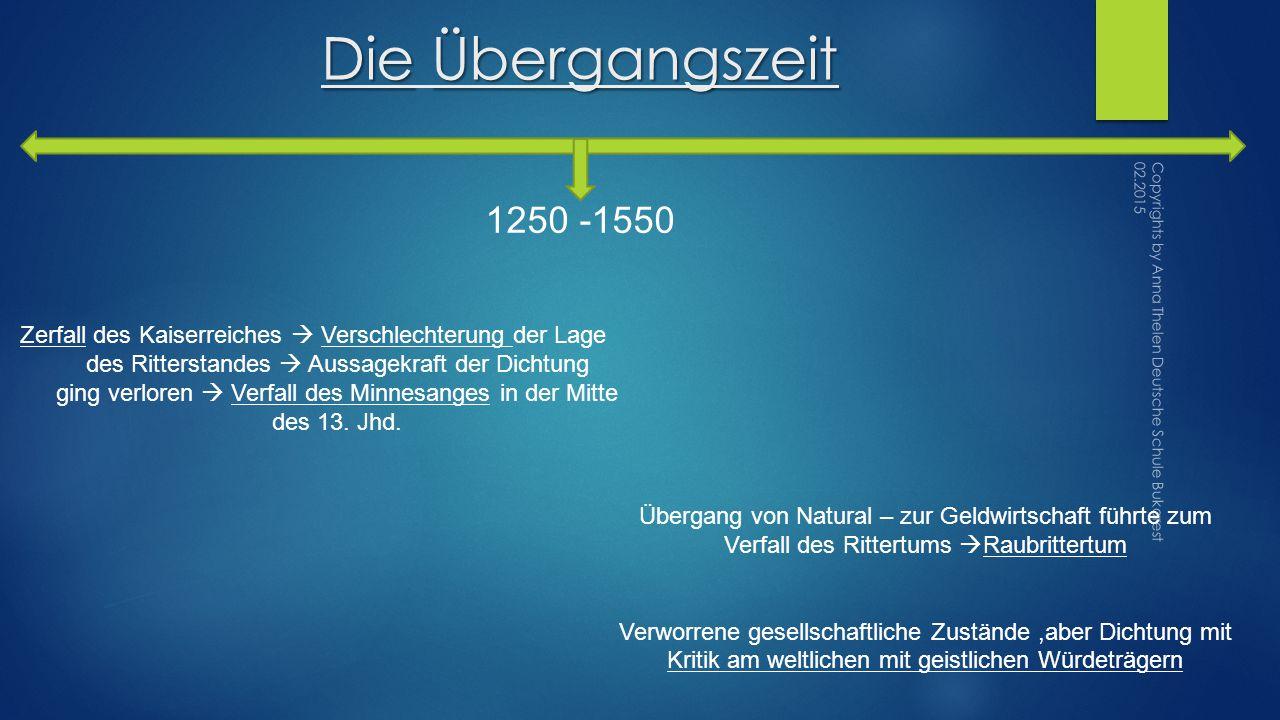 Die Übergangszeit 1250 -1550. Zerfall des Kaiserreiches  Verschlechterung der Lage. des Ritterstandes  Aussagekraft der Dichtung.