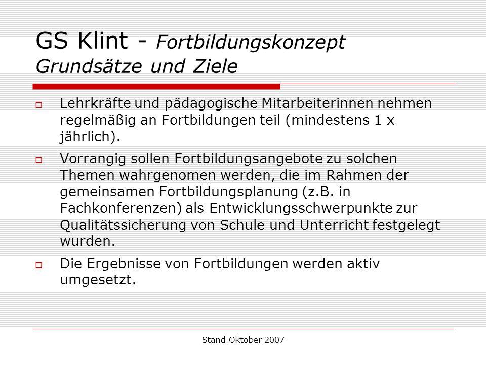 GS Klint - Fortbildungskonzept Grundsätze und Ziele