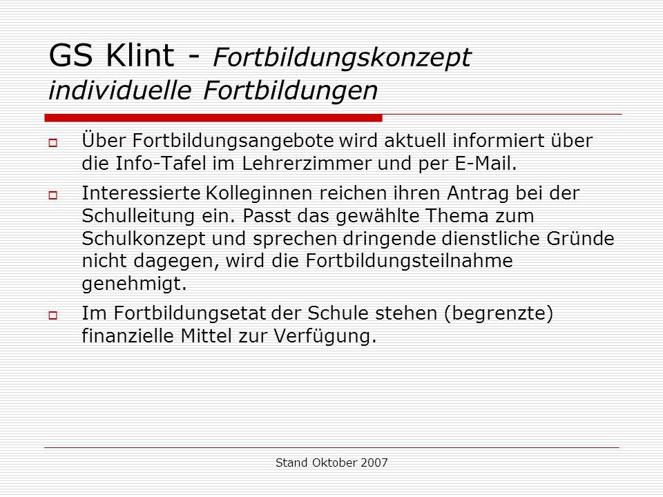GS Klint - Fortbildungskonzept individuelle Fortbildungen