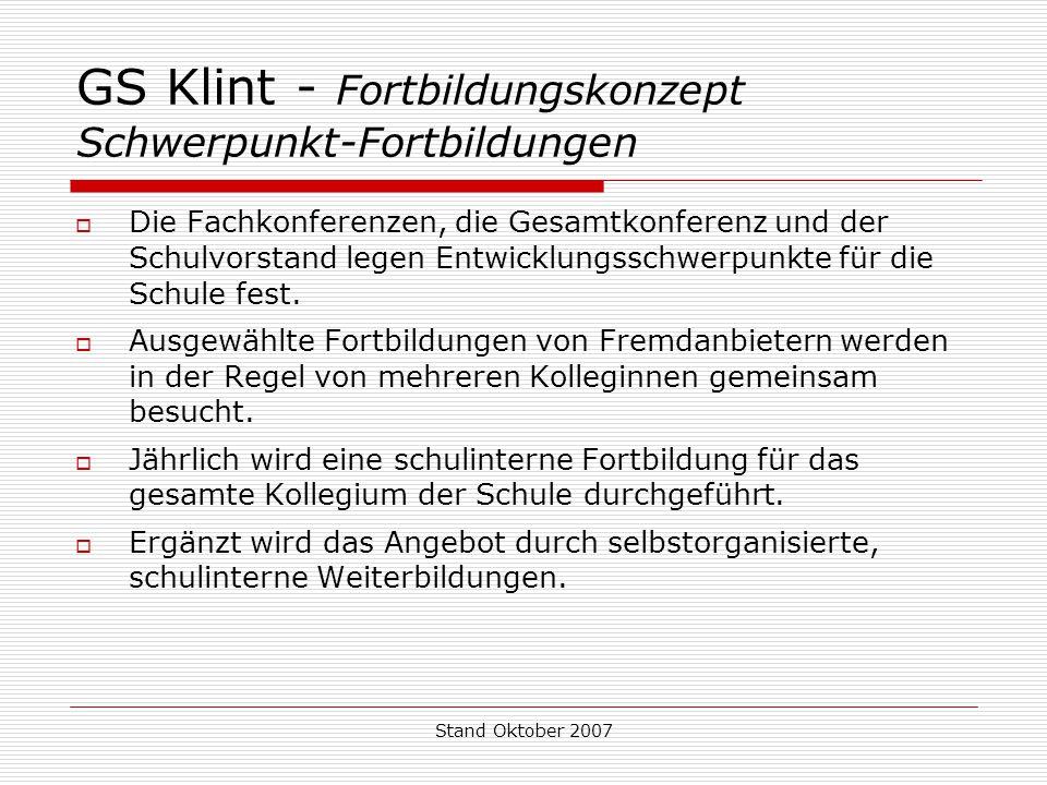 GS Klint - Fortbildungskonzept Schwerpunkt-Fortbildungen
