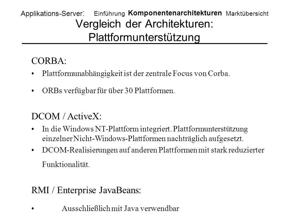 Vergleich der Architekturen: Plattformunterstützung