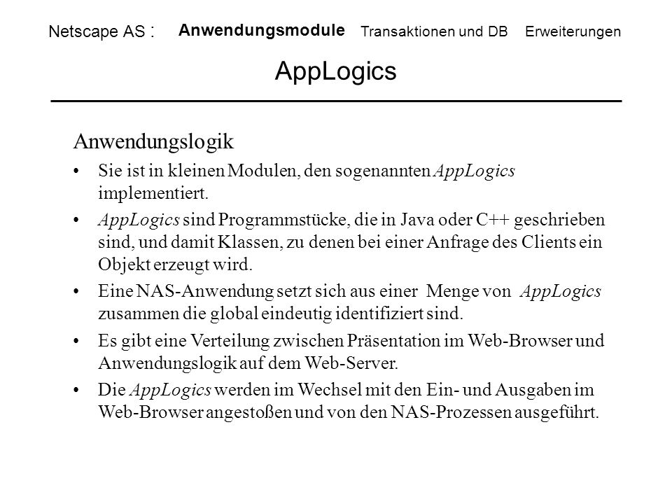 AppLogics Anwendungslogik