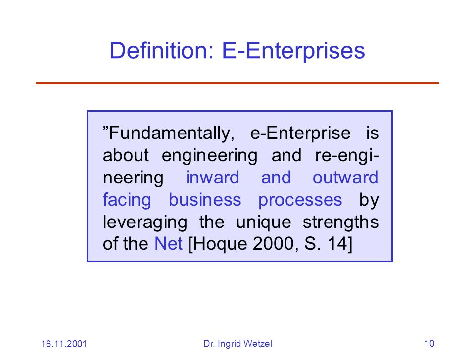 Definition: E-Enterprises