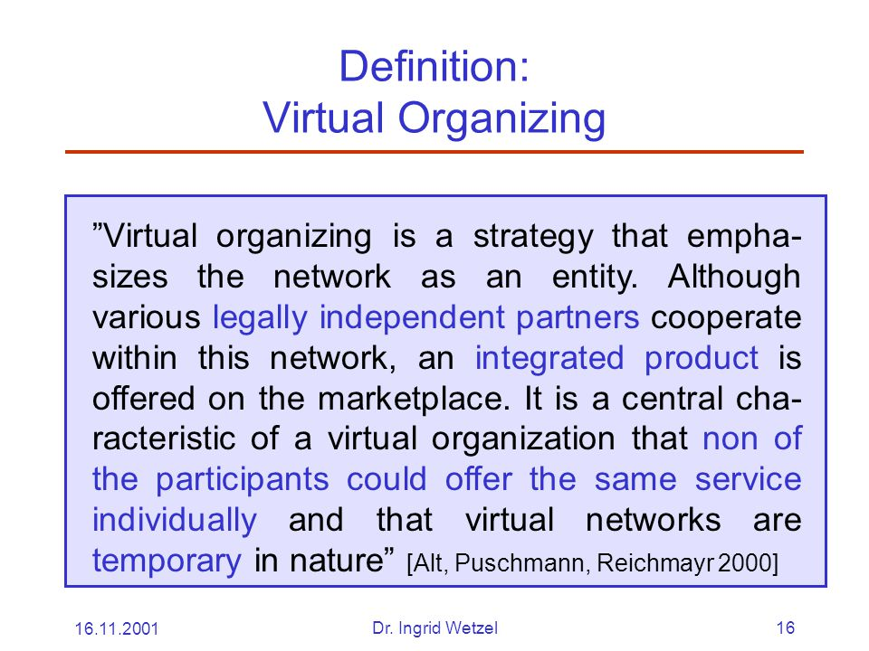 Definition: Virtual Organizing
