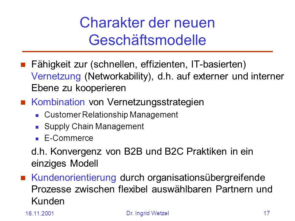 Charakter der neuen Geschäftsmodelle