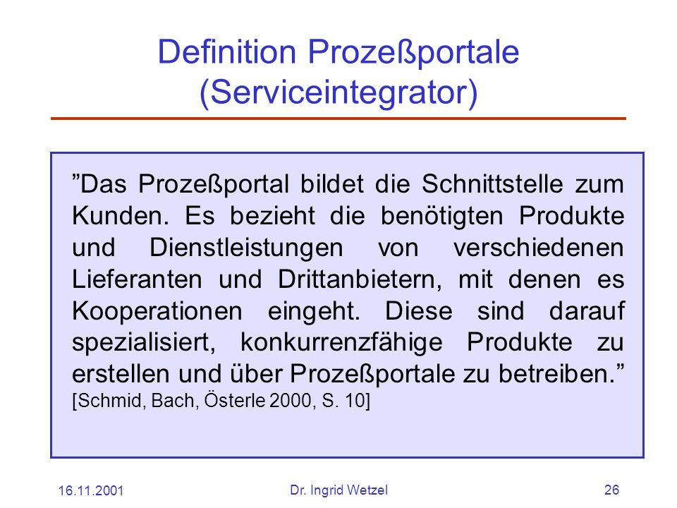 Definition Prozeßportale (Serviceintegrator)