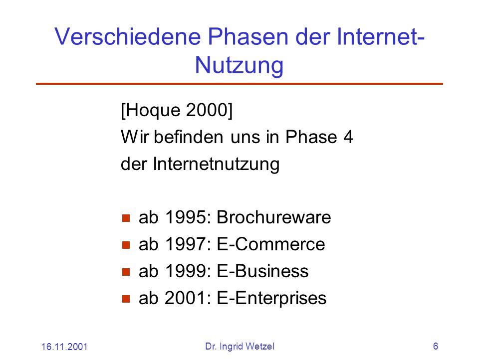 Verschiedene Phasen der Internet-Nutzung