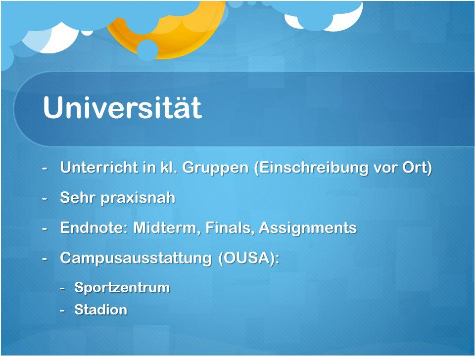 Universität Unterricht in kl. Gruppen (Einschreibung vor Ort)