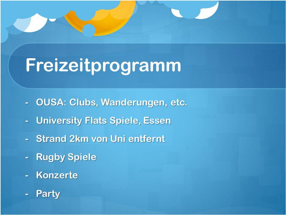 Freizeitprogramm OUSA: Clubs, Wanderungen, etc.