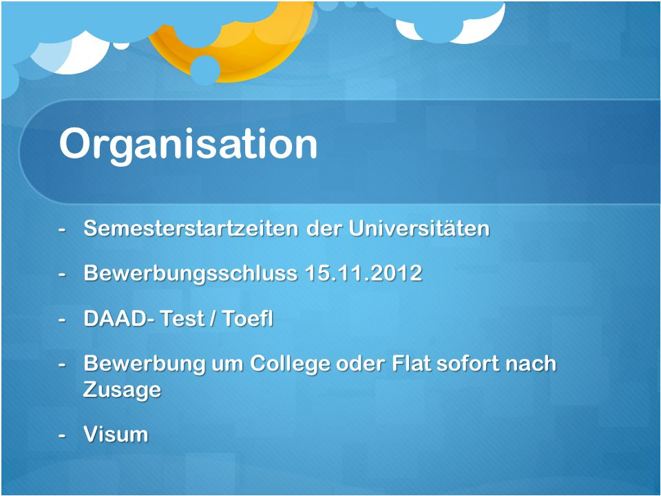 Organisation Semesterstartzeiten der Universitäten