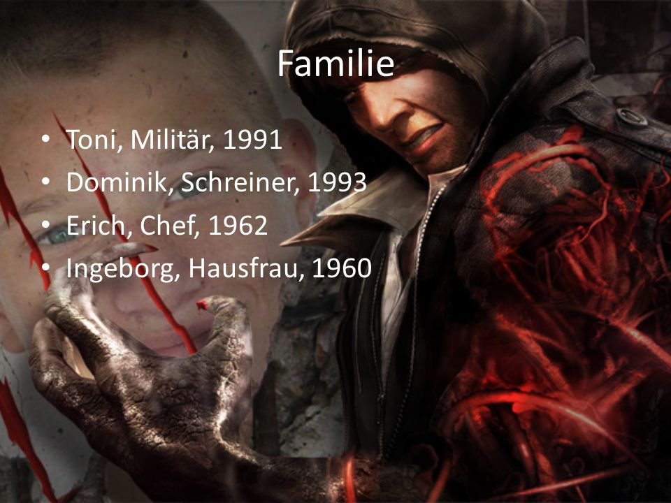 Familie Toni, Militär, 1991 Dominik, Schreiner, 1993 Erich, Chef, 1962