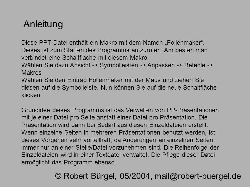 Anleitung © Robert Bürgel, 05/2004, mail@robert-buergel.de