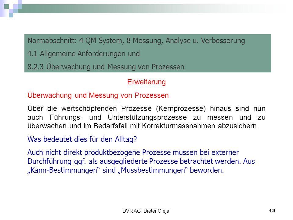 Normabschnitt: 4 QM System, 8 Messung, Analyse u. Verbesserung