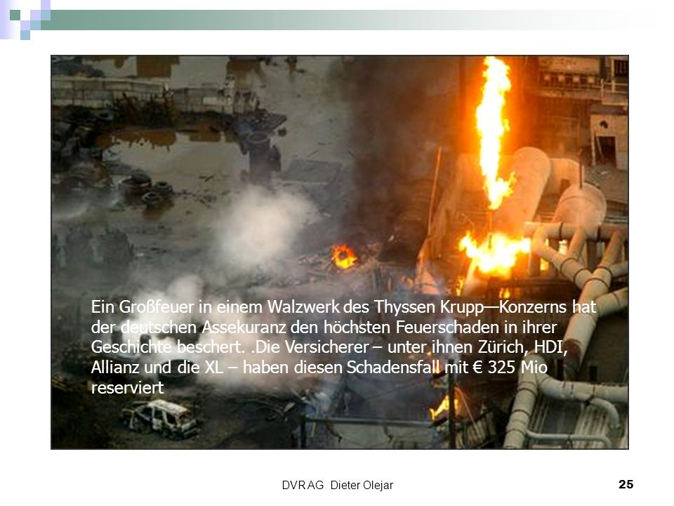 Ein Großfeuer in einem Walzwerk des Thyssen Krupp—Konzerns hat der deutschen Assekuranz den höchsten Feuerschaden in ihrer Geschichte beschert. .Die Versicherer – unter ihnen Zürich, HDI, Allianz und die XL – haben diesen Schadensfall mit € 325 Mio reserviert