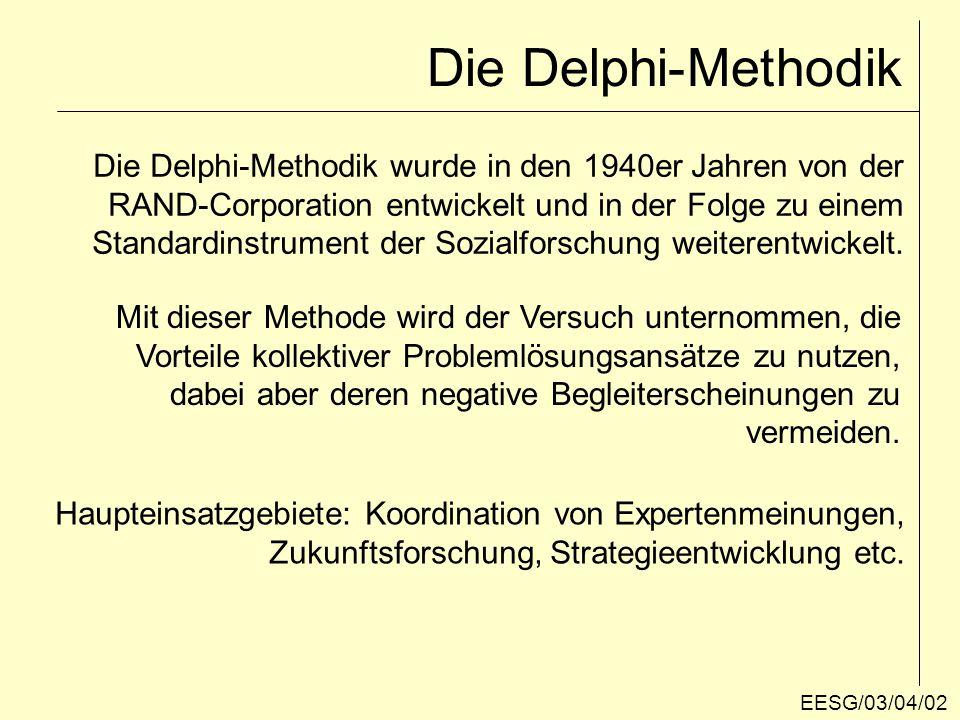 Die Delphi-Methodik Die Delphi-Methodik wurde in den 1940er Jahren von der. RAND-Corporation entwickelt und in der Folge zu einem.
