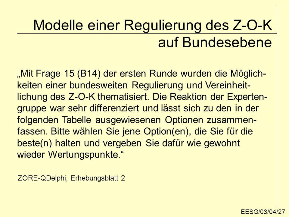 Modelle einer Regulierung des Z-O-K auf Bundesebene