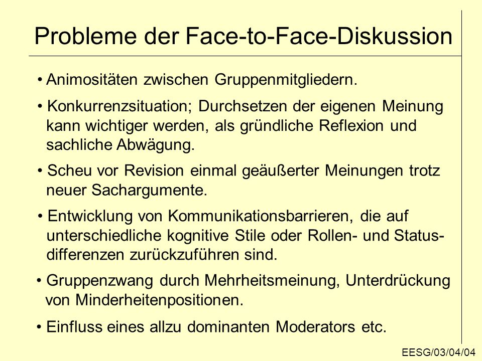 Probleme der Face-to-Face-Diskussion