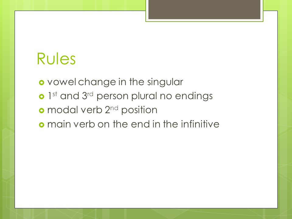 Rules vowel change in the singular