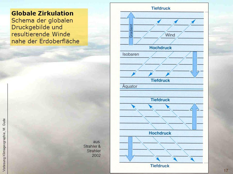 Globale Zirkulation Schema der globalen Druckgebilde und resultierende Winde nahe der Erdoberfläche.