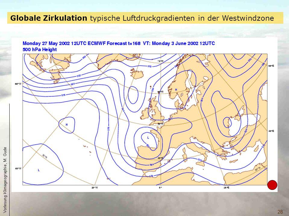 Globale Zirkulation typische Luftdruckgradienten in der Westwindzone