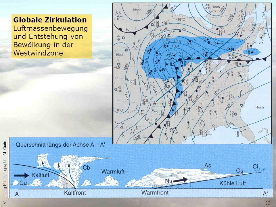 Globale Zirkulation Luftmassenbewegung und Entstehung von Bewölkung in der Westwindzone