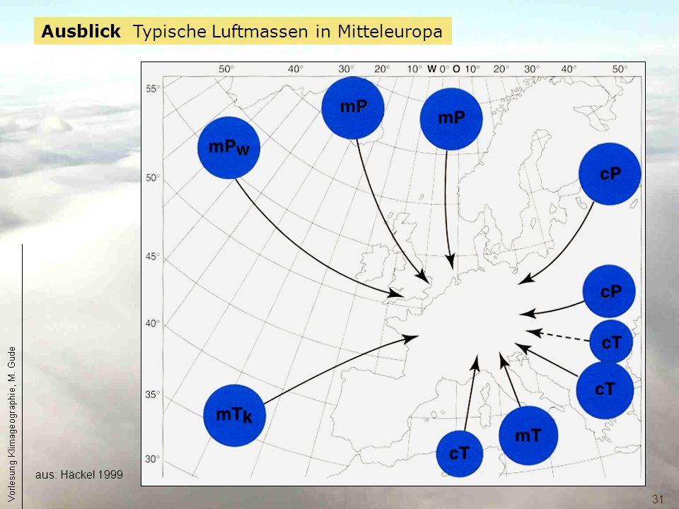 Ausblick Typische Luftmassen in Mitteleuropa