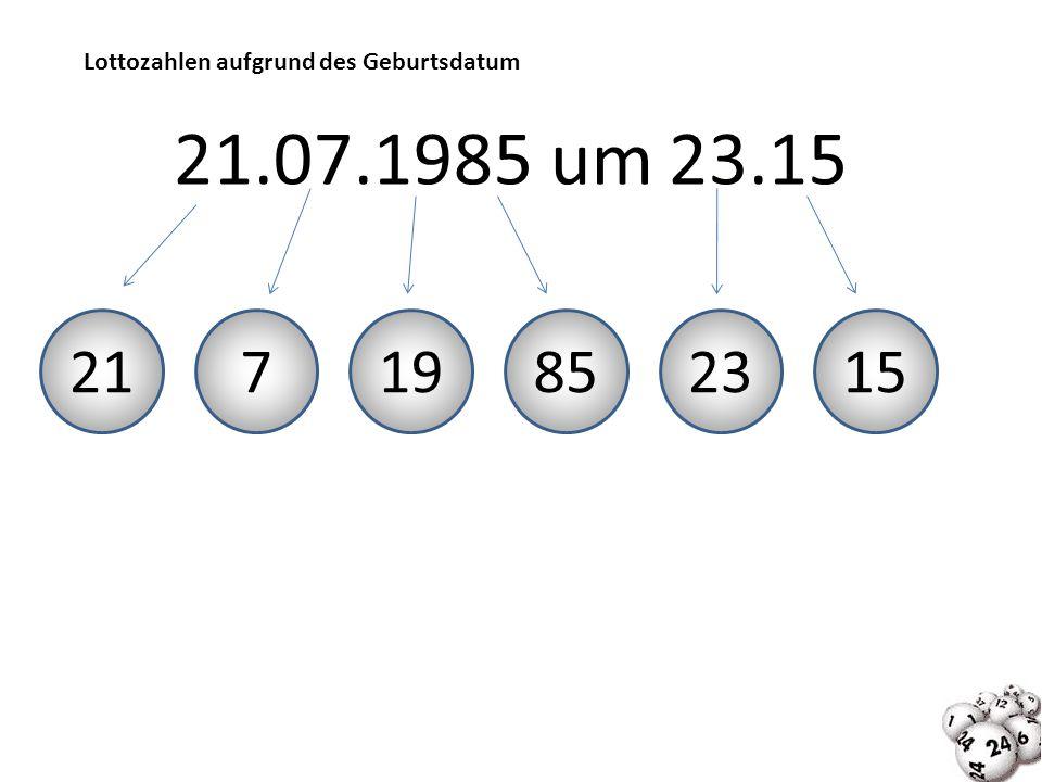 Lottozahlen aufgrund des Geburtsdatum