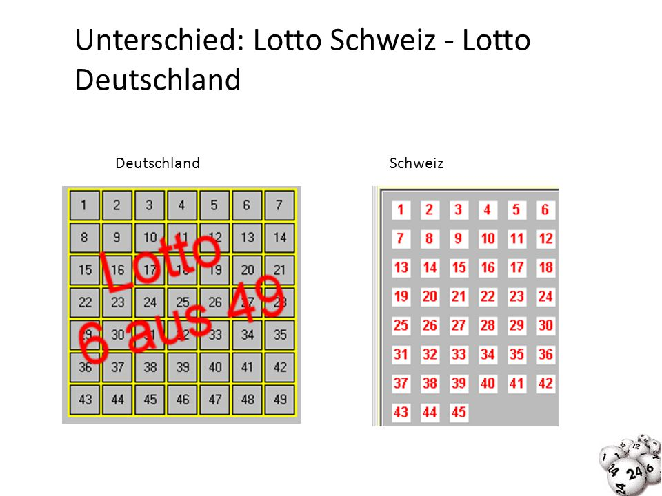Unterschied: Lotto Schweiz - Lotto Deutschland