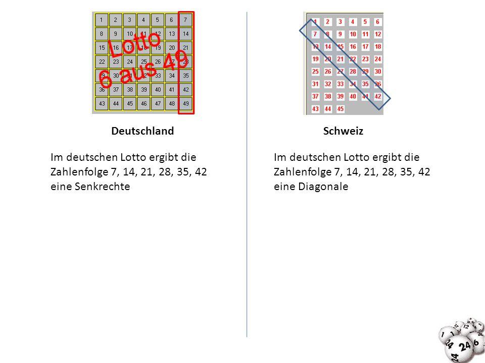 Deutschland Schweiz. Im deutschen Lotto ergibt die Zahlenfolge 7, 14, 21, 28, 35, 42. eine Senkrechte.