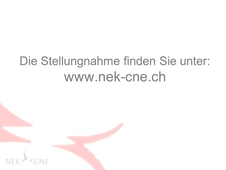 Die Stellungnahme finden Sie unter: www.nek-cne.ch