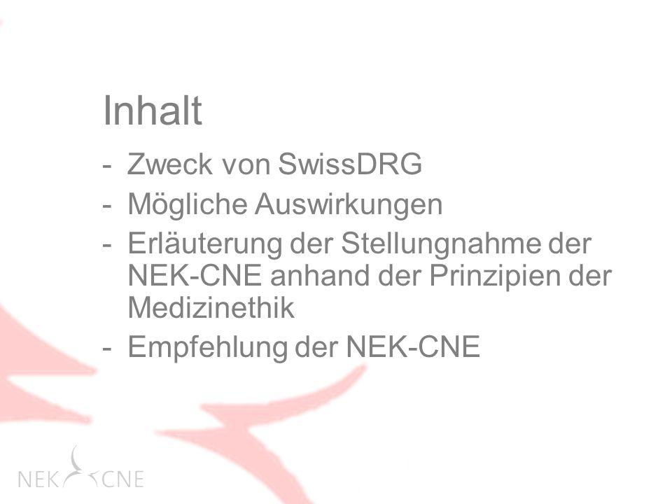 Inhalt Zweck von SwissDRG Mögliche Auswirkungen