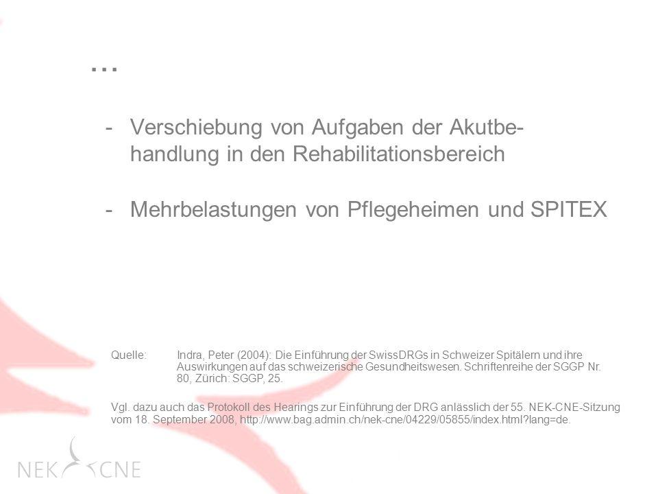 ... Verschiebung von Aufgaben der Akutbe- handlung in den Rehabilitationsbereich. Mehrbelastungen von Pflegeheimen und SPITEX.